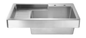 Whitehaus WH33209-NP Pearlhaus Brushed Stainless Steel Single Bowl Drop In Utility Sink With Drainboard