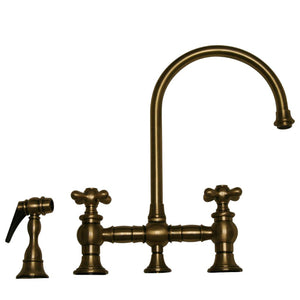 Vintage III Bridge Faucet With Long Gooseneck Swivel Spout, Cross Handles And Solid Brass Side Spray