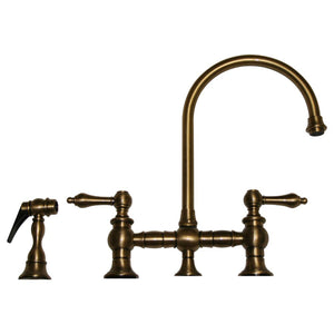 Vintage III Bridge Faucet With Long Gooseneck Swivel Spout, Lever Handles And Solid Brass Side Spray