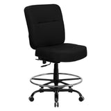 Flash Furniture Hercules Series 400 lb Capacity Big and Tall Black Fabric Drafting Stool with Extra Wide Seat [WL-735SYG-BK-D-GG]