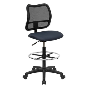 Mid-Back Mesh Drafting Stool with Navy Blue Fabric Seat [WL-A277-NVY-D-GG]
