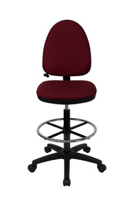 Mid-Back Burgundy Fabric Multi-Functional Drafting Stool with Adjustable Lumbar Support [WL-A654MG-BY-D-GG]