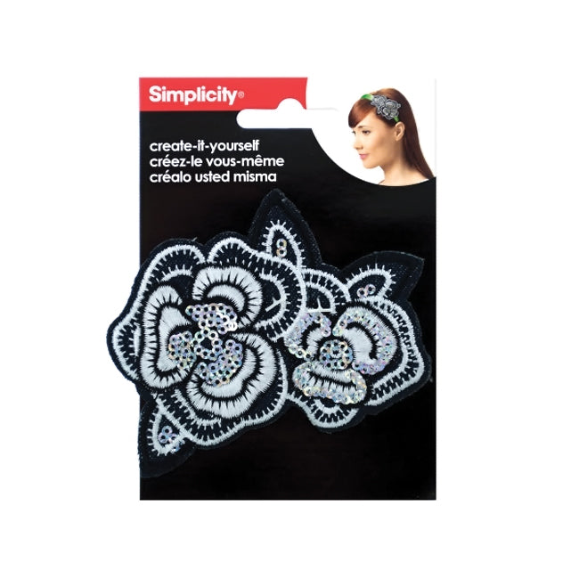 Simplicity Embroidered Sequin Flower Headband Accent - Pack of 24