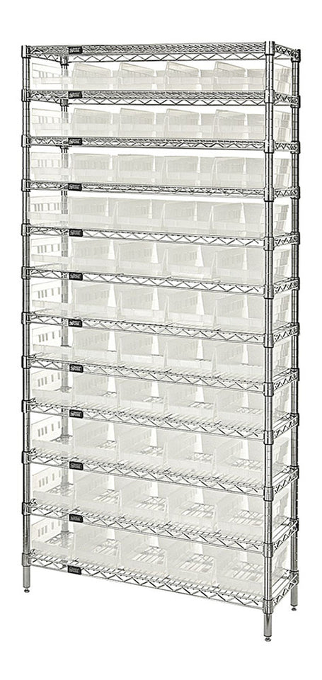 "Quantum Storage Systems WR12-104CL 12-Tier Complete Wire Shelving System with 55 QSB104 Clear-View Bins, Chrome Finish, 18"" Width x 36"" Length x 74"" Height"