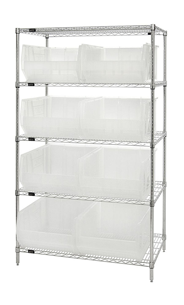 Quantum Storage Systems WR5-955CL 5-Tier Complete Wire Shelving System with 8 QUS955 Clear-View Hulk Bins, Chrome Finish, 24
