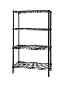 "Quantum Storage Systems WR54-1236BK Starter Kit for 54"" Height 4-Tier Wire Shelving Unit, Black Finish, 12"" Width x 36"" Length x 54"" Height"