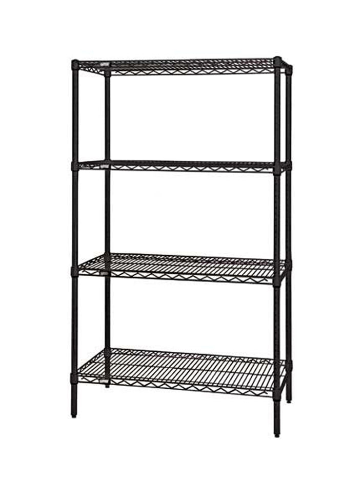 "Quantum Storage Systems WR54-2448BK Starter Kit for 54"" Height 4-Tier Wire Shelving Unit, Black Finish, 24"" Width x 48"" Length x 54"" Height"