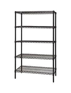 "Quantum Storage Systems Wire Shelving 5-Shelf Starter Units - 36""Wx 60""Lx 54""H - Black"