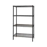 "Quantum Storage Systems WR63-1248BK Starter Kit for 63"" Height 4-Tier Wire Shelving Unit, Black Finish, 12"" Width x 48"" Length x 63"" Height"