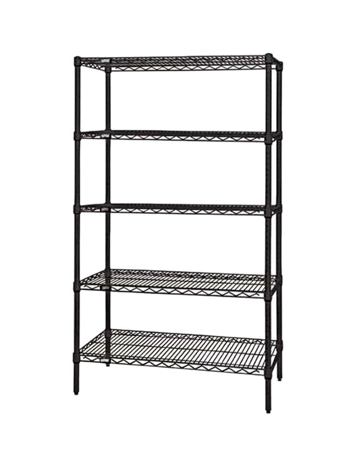 "Quantum Storage Systems Wire Shelving 5-Shelf Starter Units - 18""Wx 72""Lx 63""H - Black"