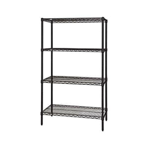 "Quantum Storage Systems WR74-2436BK Starter Kit for 74"" Height 4-Tier Wire Shelving Unit, Black Finish, 24"" Width x 36"" Length x 74"" Height"