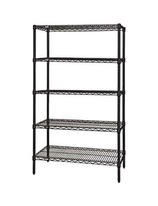 "Quantum Storage Systems Wire Shelving 5-Shelf Starter Units - 24"" Wx 48"" Lx 74"" H - Black"
