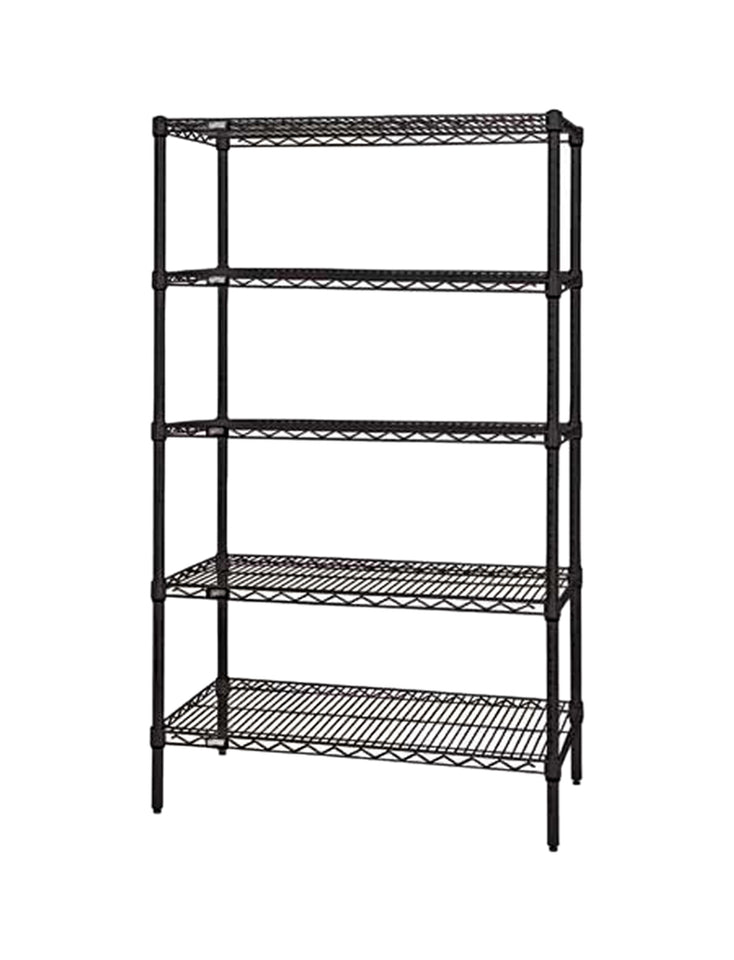 "Quantum Storage Systems Wire Shelving 5-Shelf Starter Units - 18""Wx 36""Lx 86""H - Black"