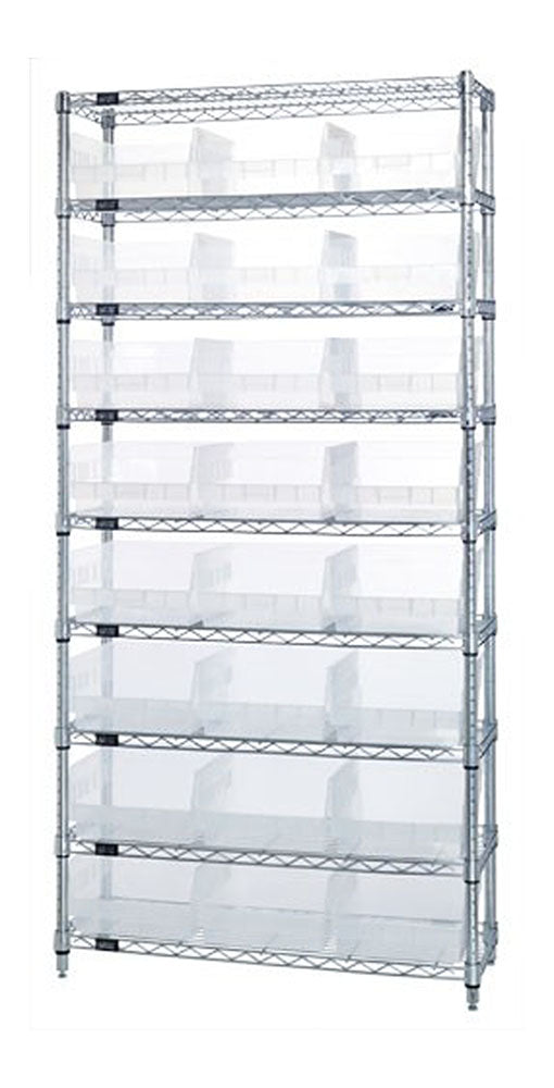 Quantum Storage System WR9-209CL 9 Shelf Wire Shelving Unit with 24 QSB209CL Clear-View Store-More Bin