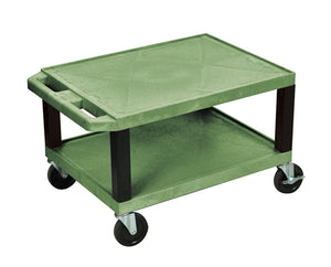 "Offex 16""H Rolling Multipurpose Heavy Duty Storage AV Utility Cart with 2 Shelf, Electric - Green with Black Legs"