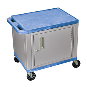 "Offex 26""H AV Cart with 2 Shelves, Cabinet and Nickel Legs - Blue"