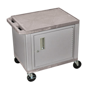 "Offex 26""H Electric AV Cart with 2 Shelf and Cabinet - Nickel,Gray"