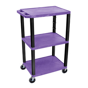 "H.Wilson WT42PE-B Purple Tuffy 3 Shelf 42"" AV Cart"