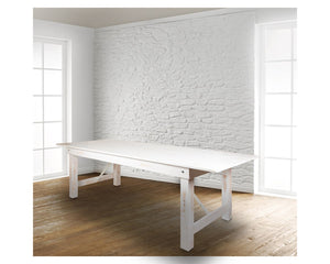 "Flash Furniture HERCULES Series 9' x 40"" Rectangular Antique Rustic White Solid Pine Folding Farm Table"