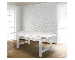 "Flash Furniture HERCULES Series 7' x 40"" Rectangular Antique Rustic White Solid Pine Folding Farm Table"