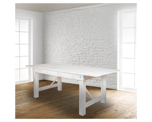 "Flash Furniture HERCULES Series 8' x 40"" Rectangular Antique Rustic White Solid Pine Folding Farm Table"