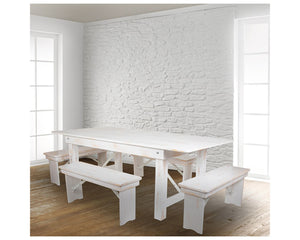 "Flash Furniture HERCULES Series 7' x 40"" Antique Rustic White Folding Farm Table and Four Bench Set"