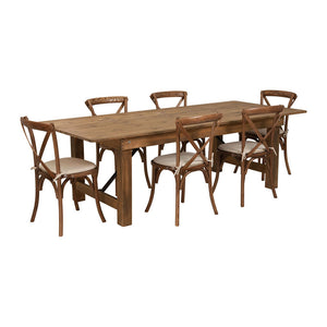 Flash Furniture HERCULES Series 8' x 40'' Antique Rustic Folding Farm Table Set with 6 Cross Back Chairs and Cushions