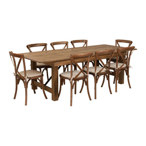 Flash Furniture HERCULES Series 8' x 40'' Antique Rustic Folding Farm Table Set with 8 Cross Back Chairs and Cushions