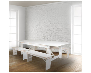 "Flash Furniture HERCULES Series 8' x 40"" Antique Rustic White Folding Farm Table and Four 40.25""L Bench Set"
