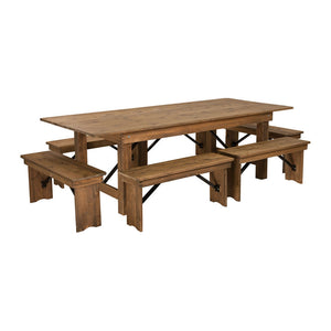 Flash Furniture HERCULES Series 8' x 40'' Antique Rustic Folding Farm Table and Six Bench Set