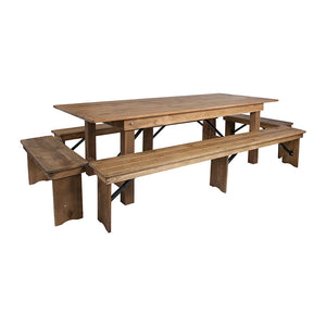 Flash Furniture HERCULES Series 8' x 40'' Antique Rustic Folding Farm Table and Four Bench Set