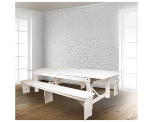 "Flash Furniture HERCULES Series 9' x 40"" Antique Rustic White Folding Farm Table and Two Bench Set"