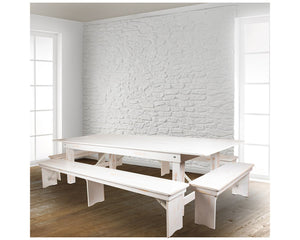 "Flash Furniture HERCULES Series 9' x 40"" Antique Rustic White Folding Farm Table and Four Bench Set"