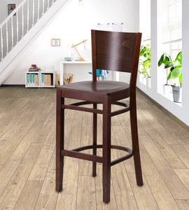 Flash Furniture Lacey Series Solid Back Walnut Wood Restaurant Barstool