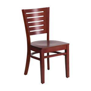 Flash Furniture Darby Series Slat Back Mahogany Wood Restaurant Chair