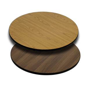 Flash Furniture 42'' Round Table Top with Natural or Walnut Reversible Laminate Top