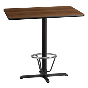 "Flash Furniture 30"" x 42"" Rectangular Walnut Laminate Table Top with 23.5"" x 29.5"" Bar Height Table Base and Foot Ring"