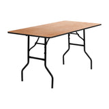Flash Furniture 30'' x 60'' Rectangular Wood Folding Banquet Table with Clear Coated Finished Top