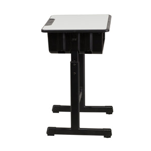 Flash Furniture YU-YCY-046-GG  Student Desk with Grey Top and Adjustable Height Black Pedestal Frame,Black, Natural