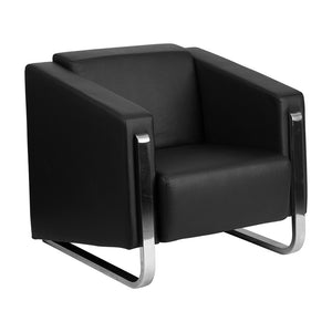 Flash Furniture HERCULES Gallant Series Contemporary Black Leather Chair with Stainless Steel Frame