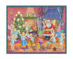 "Alexander Taron ADV806 Sellmer Advent - Small Santa with Angels - 8.25"" H x 11.75"" W x .1"" D, Brown"