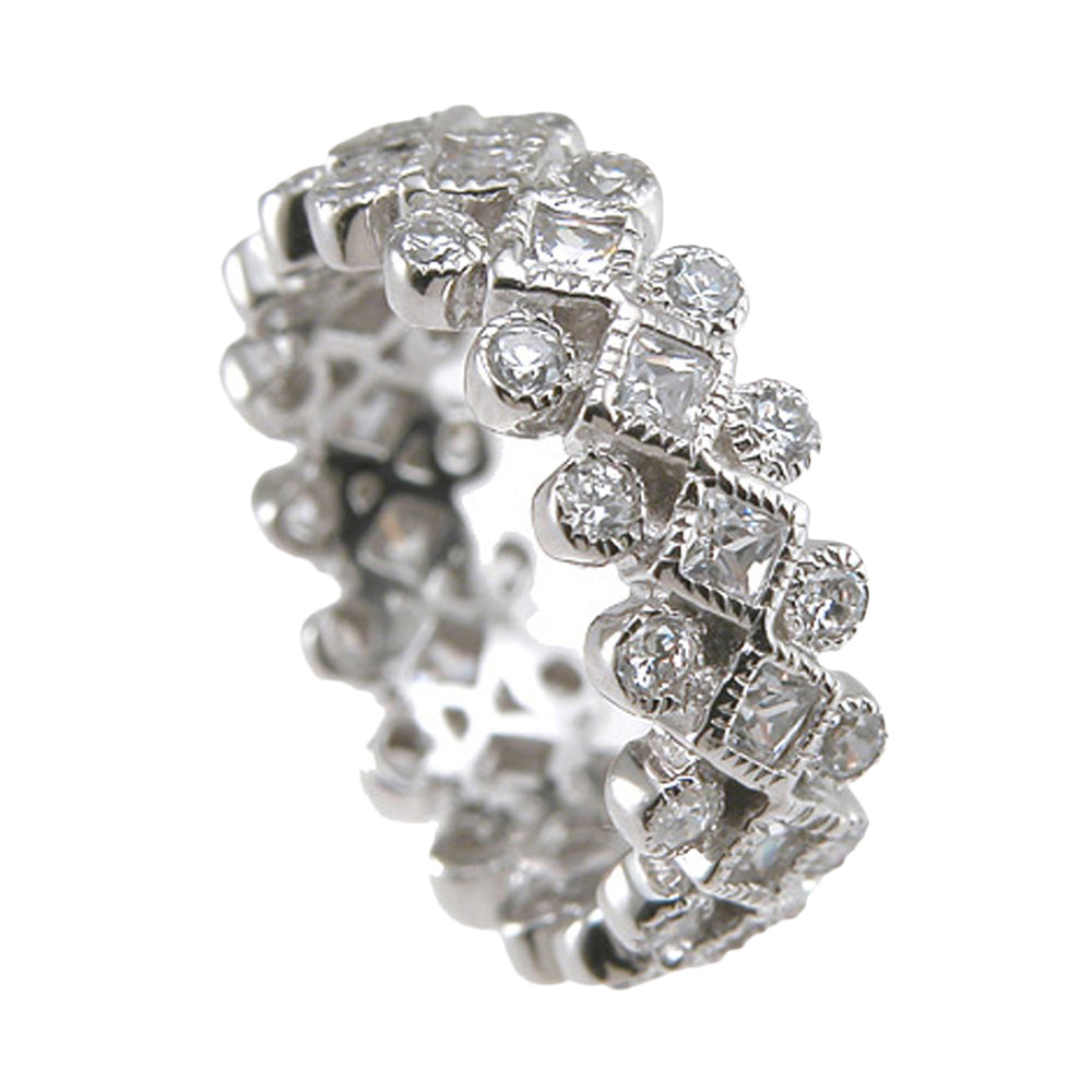 Plutus Brands 925 Sterling Silver Rhodium Finish CZ Princess Eternity Wedding Ring- Size 6 - kkr6421a