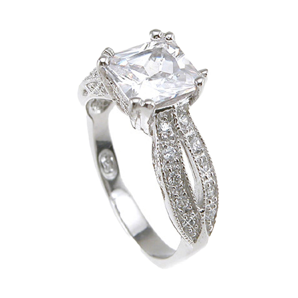 Plutus Brands 925 Sterling Silver Rhodium Finish CZ Princess Antique Style Wedding Ring- Size 5