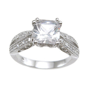 925 Sterling Silver Rhodium Finish CZ Princess Antique Style Wedding Ring - Size 9