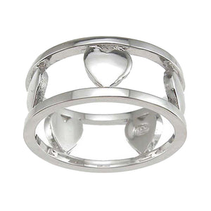 Plutus Brands 925 Sterling Silver Rhodium Finish Heart Anniversary Band- Size 6- kkr6620a
