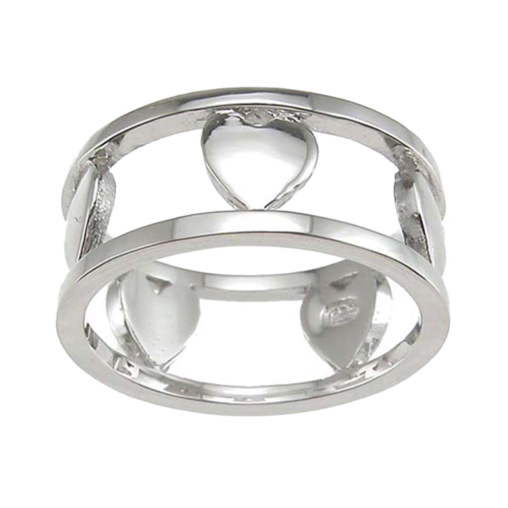 Plutus Brands 925 Sterling Silver Rhodium Finish Heart Anniversary Band- Size 8- kkr6620c
