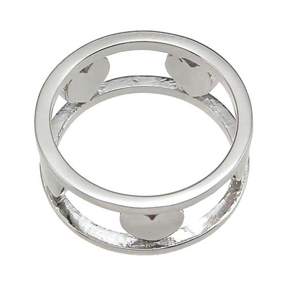 Plutus Brands 925 Sterling Silver Rhodium Finish Heart Anniversary Band - Size 9- kkr6620d