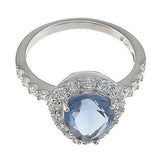 Plutus Brands 925 Sterling Silver Rhodium Finish CZ Prong Anniversary Ring- Size 8- kkr6621c
