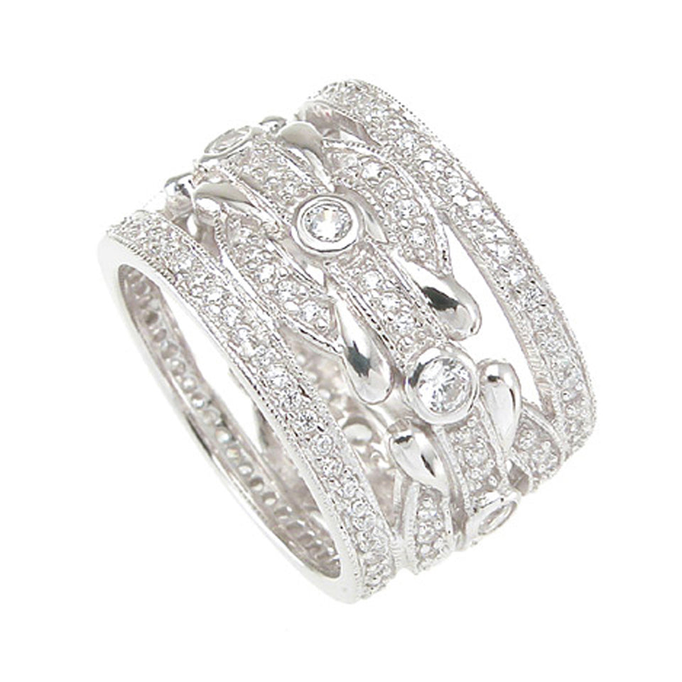 925 Sterling Silver Wedding Band 1.5 Carat Weight- Size 8 - kkr6752c