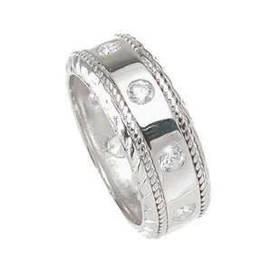 925 Sterling Silver Mens Wedding Band- Size 8- kkrm6733c